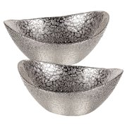Badash Crystal Oval Snakeskin Handmade Glass Bowl - Set of 2