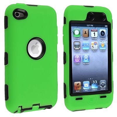 Dual Flex Hard Hybrid Gel Case for  iPod Touch 4th Gen - Green/Black