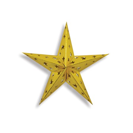 Starry Night Themed Gold 3-D Foil Star Cutout Party Decoration 12""
