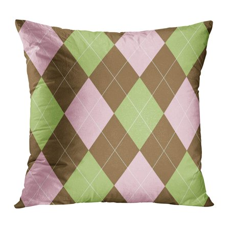 - ECCOT Brown 1960S Pink and Green Argyle Tan 1970S 1980S 60S 70S 80S Pillowcase Pillow Cover Cushion Case 18x18 inch