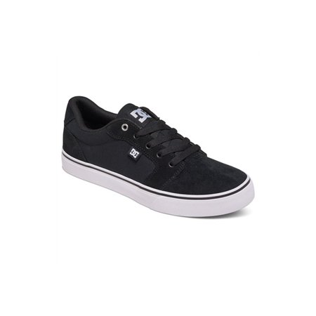 DC Men's Anvil Lace Up Skate Sneakers Black Suede Canvas 9.5 (Canvas Suede Sneakers)
