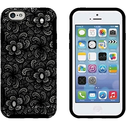 M Edge International Inc Glimpse case for iPhone 6 and 6S (Black Lace) IP6-GL-P-LC