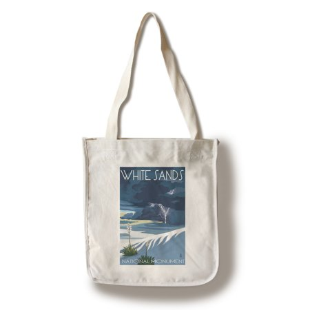 White Sands National Monument  New Mexico   Lightning Storm   Lantern Press Artwork  100  Cotton Tote Bag   Reusable