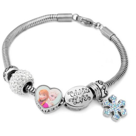 Connections From Hallmark Stainless Steel Disney Frozen Charm Bracelet Set
