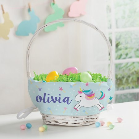 Rainbow Unicorn Personalized Easter Basket and Liner - Personalized Basket