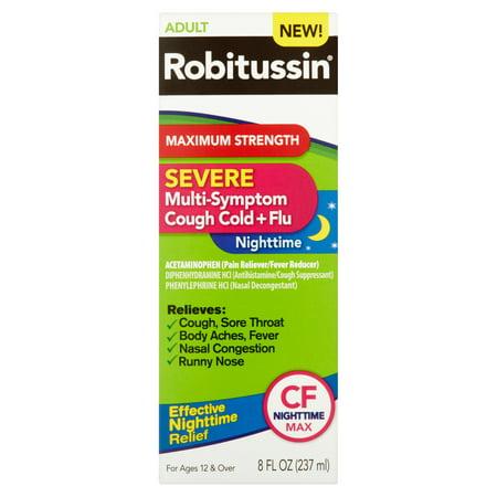 Robitussin Adult Maximum Strength Severe Multi Symptom Cough Cold Flu Nighttime Liquid  8 Fl Oz