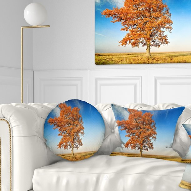 Design Art Designart Colorful Lonely Fall Tree Landscape Photo Throw Pillow Walmart Com Walmart Com