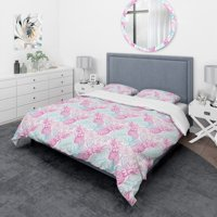 DESIGN ART Designart 'Colorful Pattern with Tropical Flowers & Pineapples' Modern & Contemporary Bedding Set - Duvet Cover & Shams