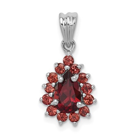 925 Sterling Silver Red Garnet Pear Shaped Pendant Charm Necklace Gemstone Gifts For Women For