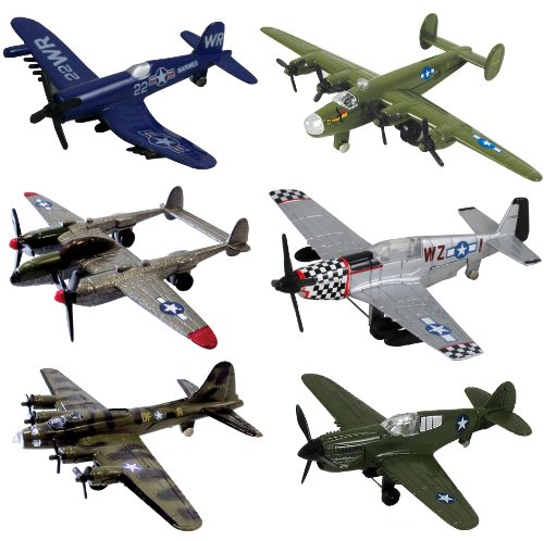 InAir WWII Planes 6-pc Set with Aircraft ID Guide Assortment 1 by