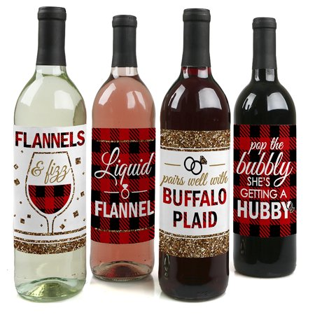Flannel Fling Before The Ring - Buffalo Plaid Bachelorette Party Party Decorations for Women and Men - Wine Bottle Label (Bachelorette Car Decorations)