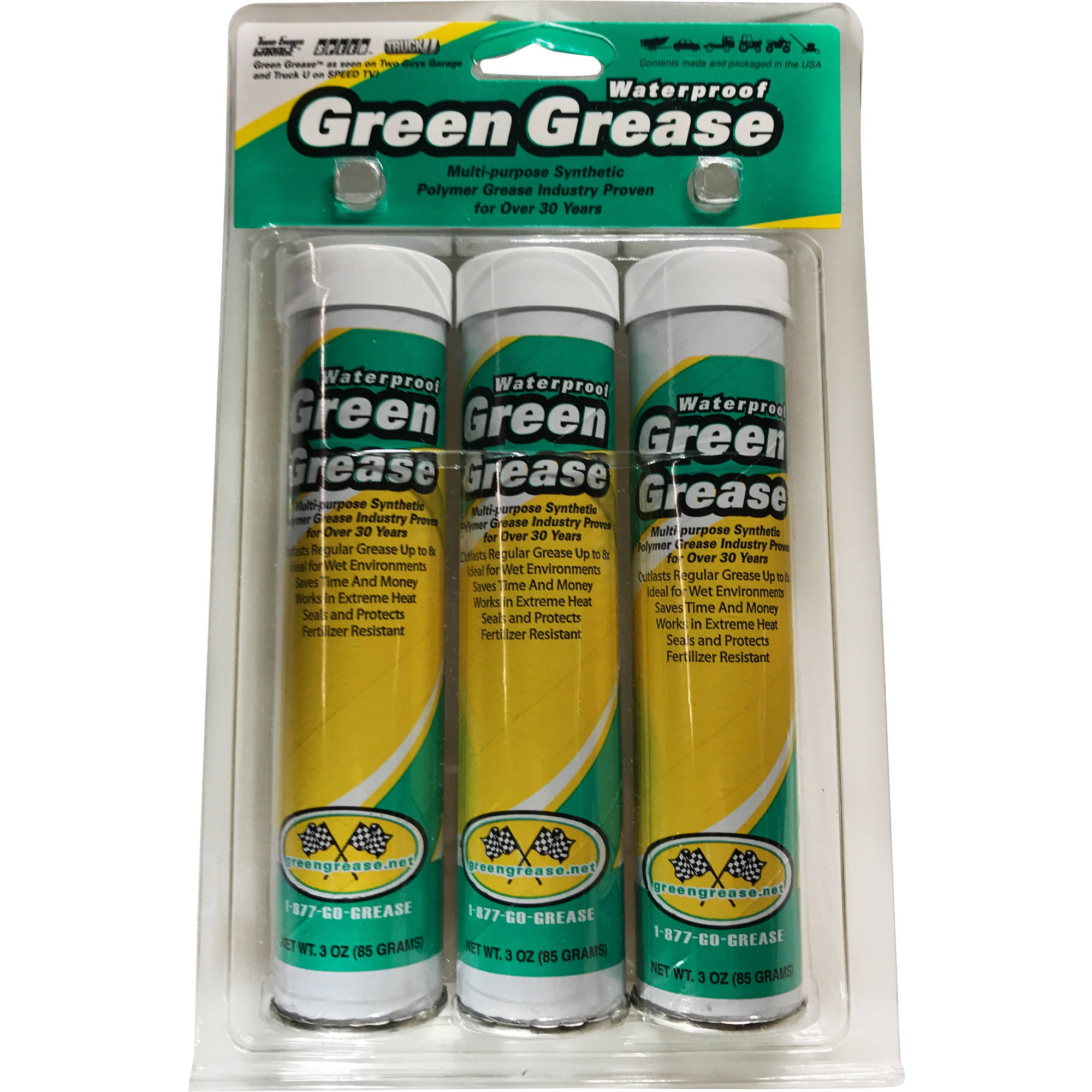Omni Lubricants Waterproof Green Grease, Three 3 oz Cartridges