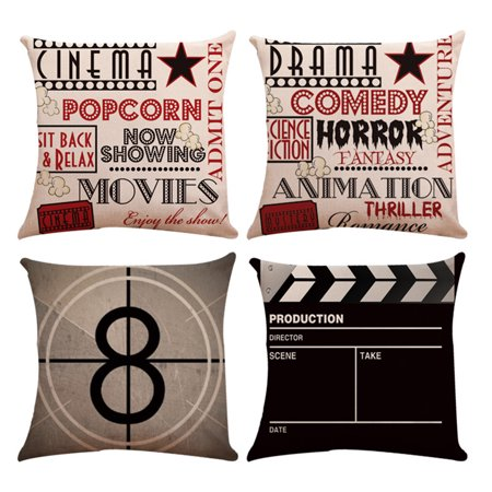 Meigar Set of 4 Decorative Throw Pillow Case Cushion Cover Theater Cinema Design Pillowcase Pillow Protector Slip Cases Sham for Sofa Couch Chair Car, 18