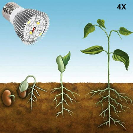Qiilu Usine Led élèvent l'ampoule, Usine Led élèvent la lumière, Spectre complet E27 Led élèvent l'ampoule de la lampe de croissance pour la fleur de plante hydroponique bricolage - image 6 de 8