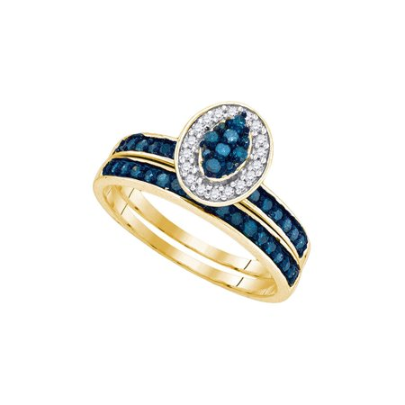 10kt Yellow Gold Womens Blue Color Enhanced Diamond Cluster Bridal Wedding Engagement Ring Band Set 1/2 Cttw (Blue Diamond Wedding Ring Set)