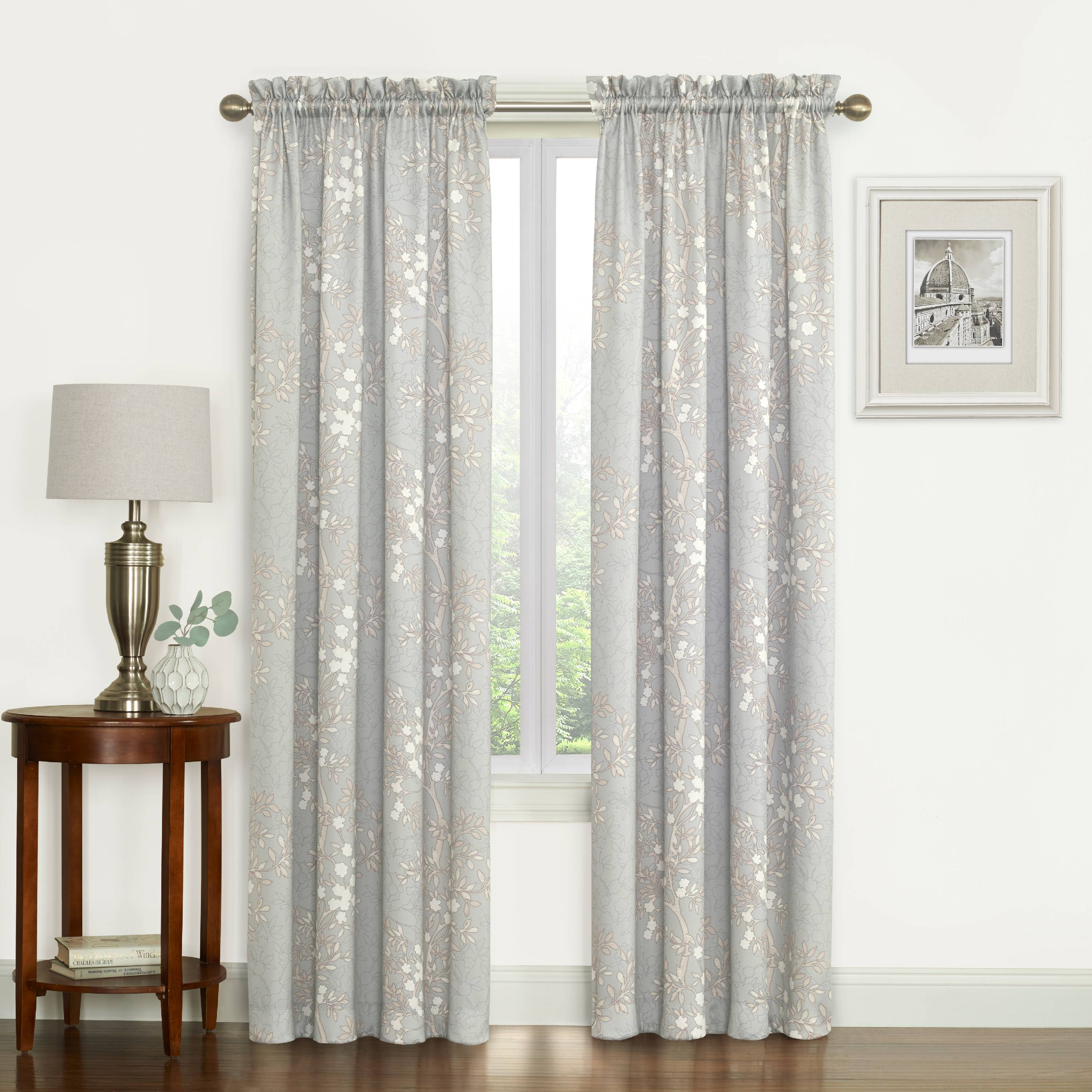 Mainstays Maisie Floral Print Window Curtain Panel, Set of 2