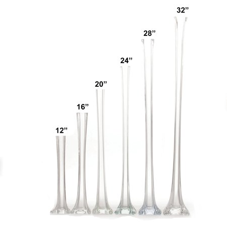 Set Of 12 Pieces 24 Inches Tall Glass Eiffel Tower Vases For