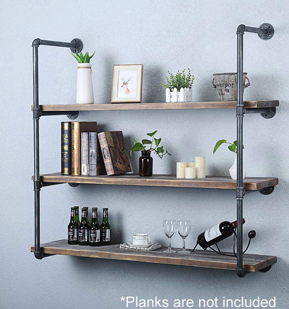 Industrial Retro Wall Mount iron Pipe Shelf, DIY Open ...