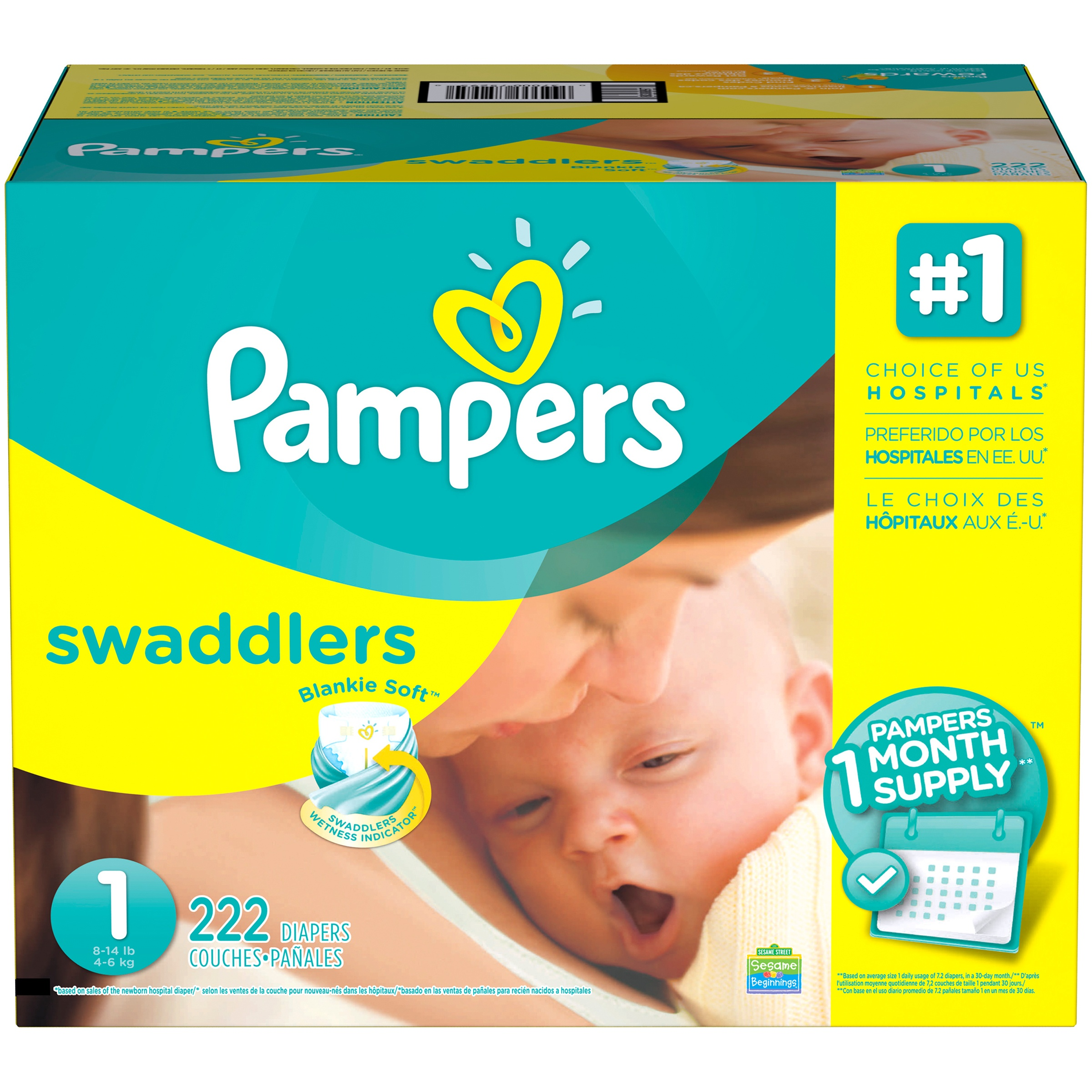 Pampers® Swaddlers Size 1 Diapers, 222 Count
