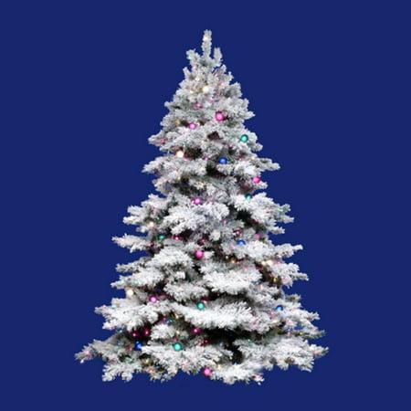 12' Pre-Lit Flocked Alaskan Artificial Christmas Tree - G50 & Multi Lights