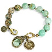 Sweet Romance Nautical Gemstone Beads and Shell Knotted Charm Bracelet Bronze