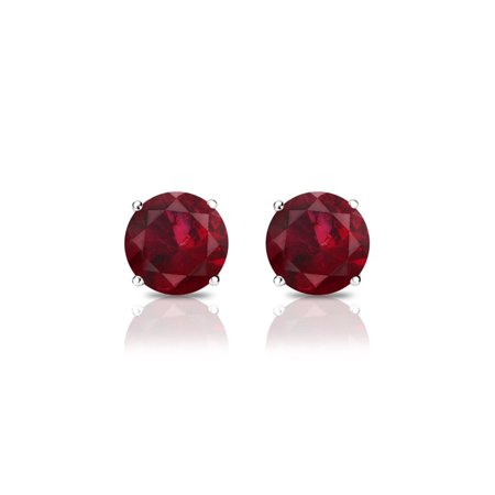 - 14k White Gold 4 MM Round Natural Ruby Gemstone Stud Earrings