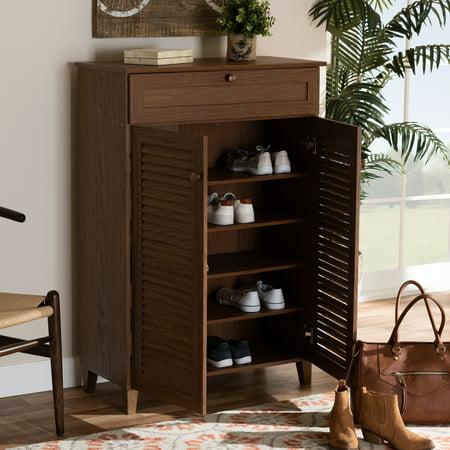 - Baxton Studio Coolidge Modern and Contemporary Walnut Finished 5-Shelf Wood Shoe Storage Cabinet with Drawer