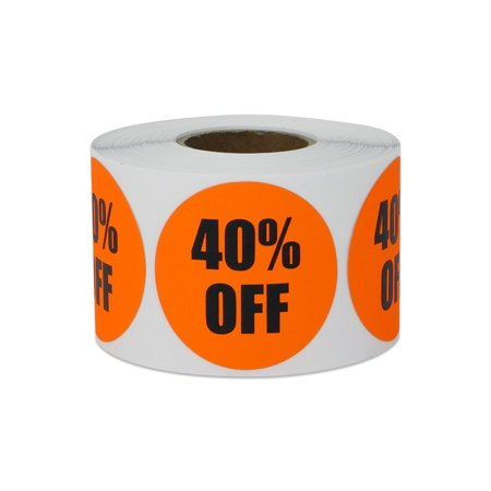 """1.5"""" Round 40% OFF Stickers Labels for Retail Pricing, Sales or Discounts (1 Roll / Orange)"""