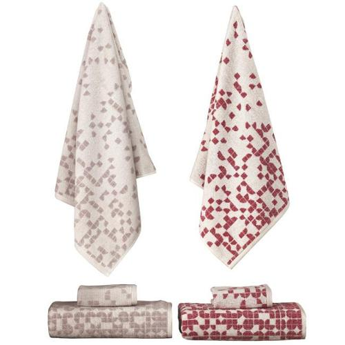 Enchante Geo 3-piece Turkish Towel Set Red Melange