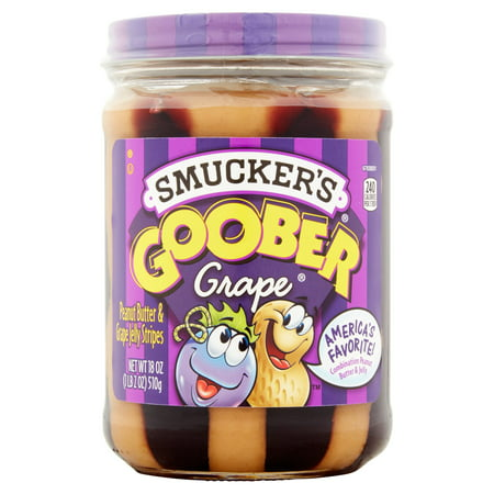 (3 Pack) Smucker's Goober Peanut Butter & Grape Jelly Stripes, 18 oz