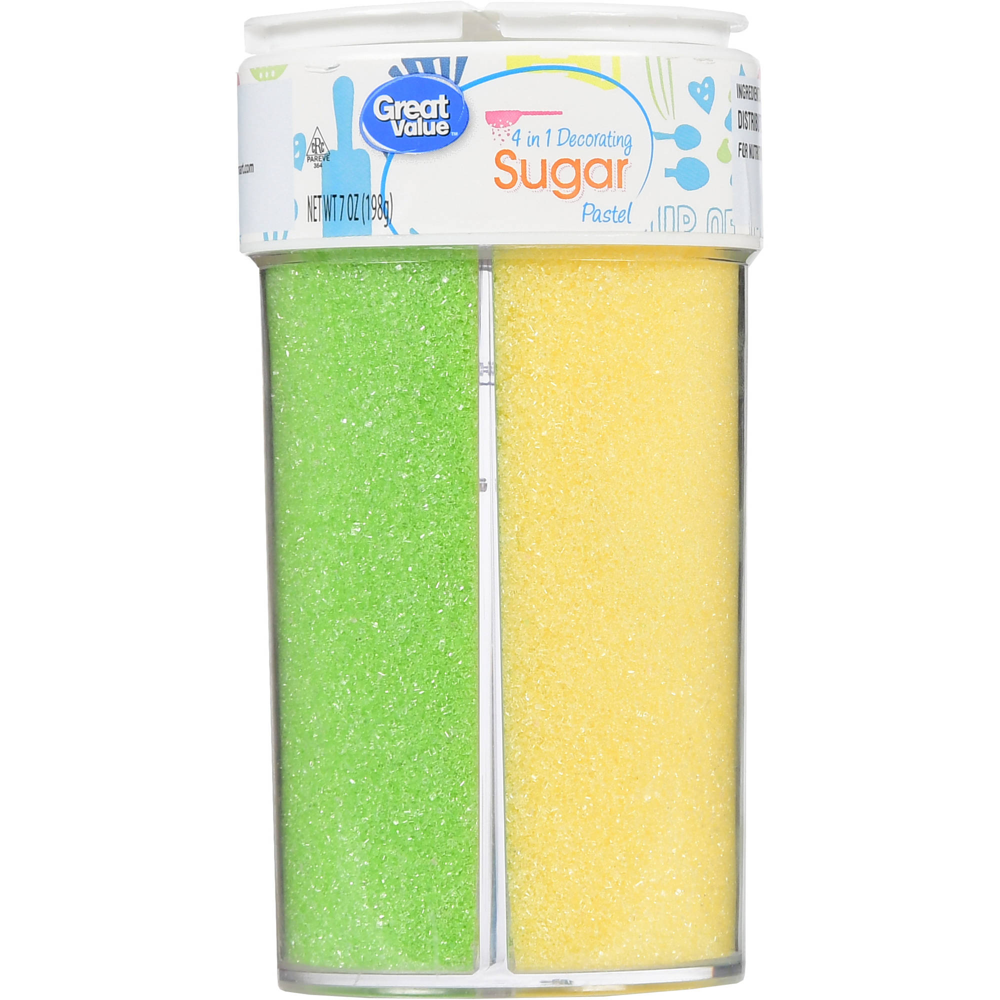 (2 Pack) Great Value 4 in 1 Decorating Sugar, Pastel, 7 oz
