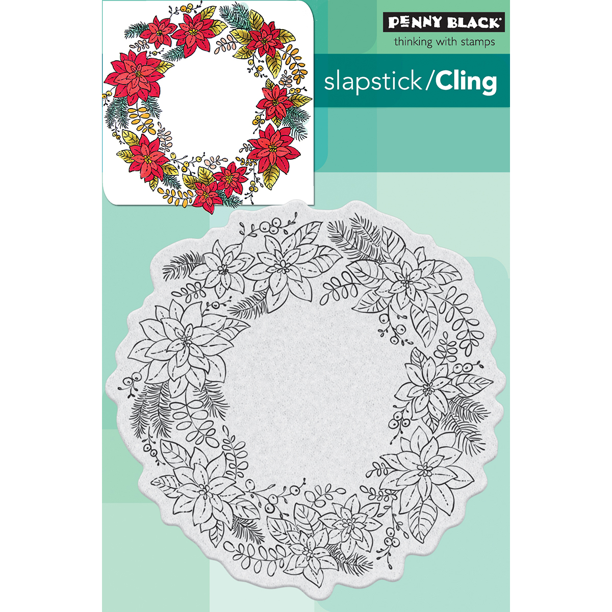 "Penny Black Cling Stamp 4""X6""-Poinsettia Wreath"