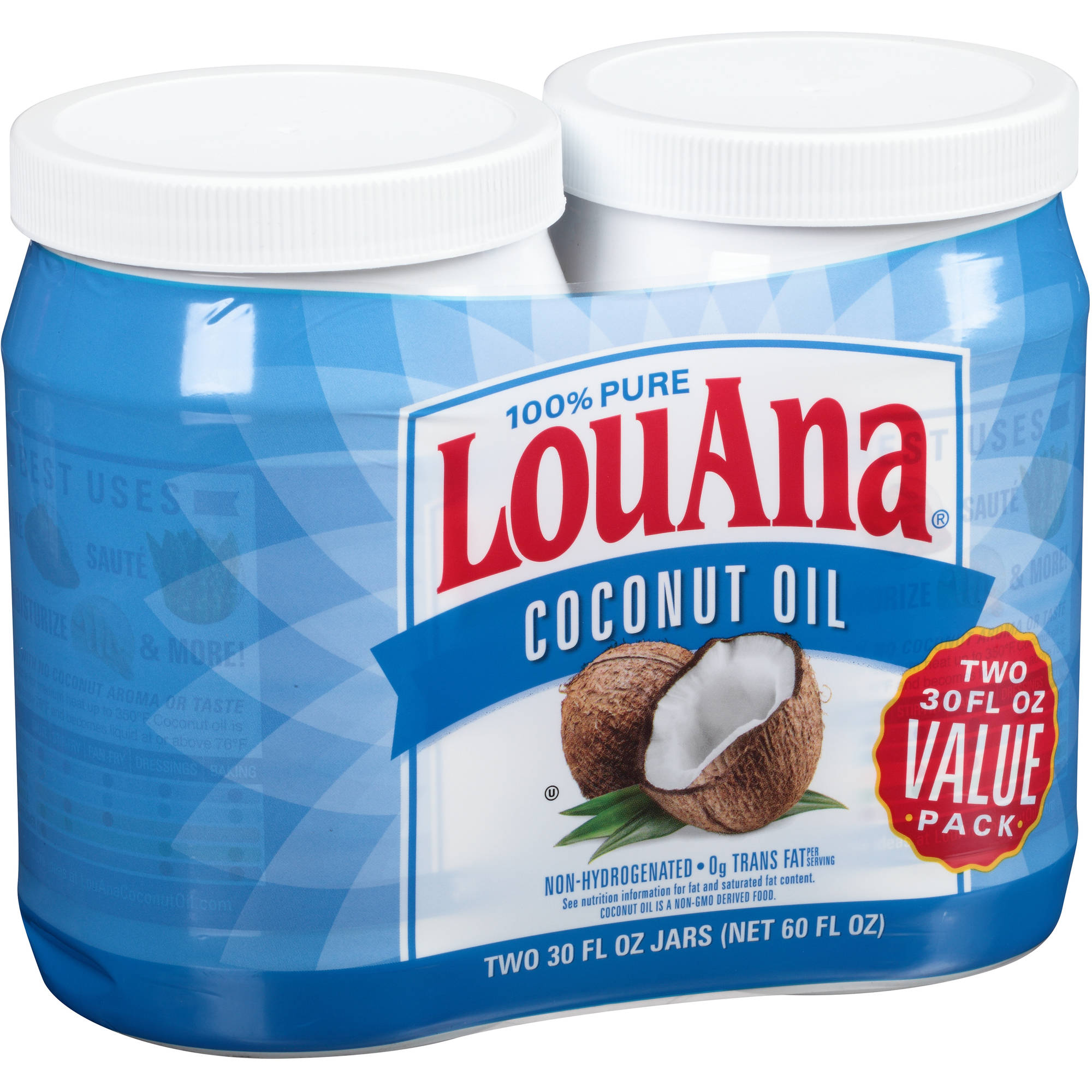 LouAna 100% Pure Coconut Oil, 30 fl oz, (Pack of 2)