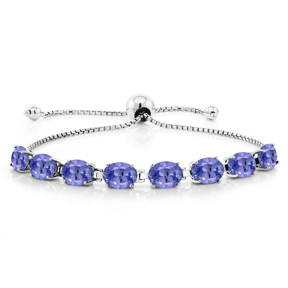 9.28 Ct Oval Blue Tanzanite 925 Sterling Silver Bracelet by