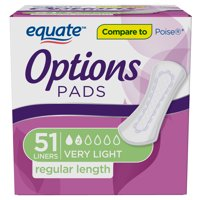 Equate Options Incontinence Pads for Women, Ultimate, Long, 51 Count