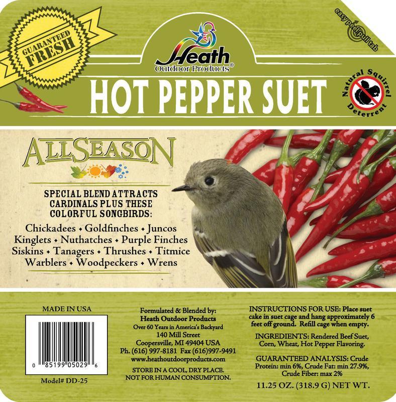Heath Outdoor Products Wild Bird Suet Cake Hot Pepper Squirrel Proof Suet 12 Pack