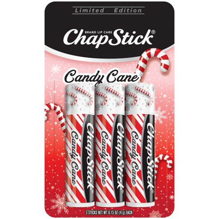 ChapStick Candy Cane Flavor, 0.15 oz. Lip Balm Tube, Skin Protectant, Lip Care,3 Sticks