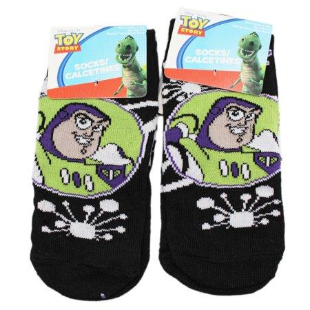 Disney Pixar's Toy Story Buzz Lightyear Portrait Black Socks (2 Pairs, Size 6-8)