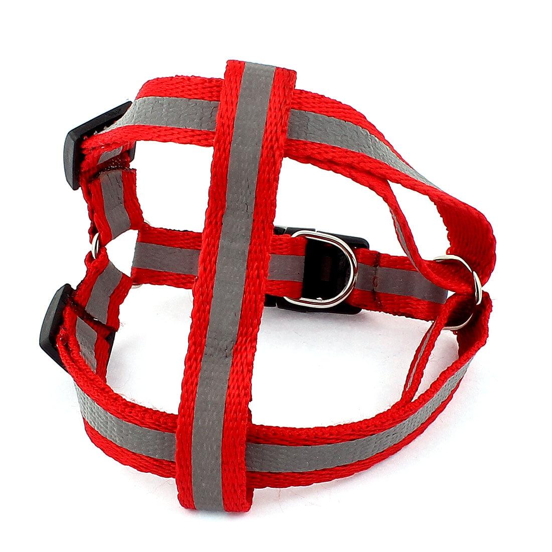 Unique Bargains Nylon Buckle Release Reflective Adjustable Pet Dog Harness Halter Leash Red