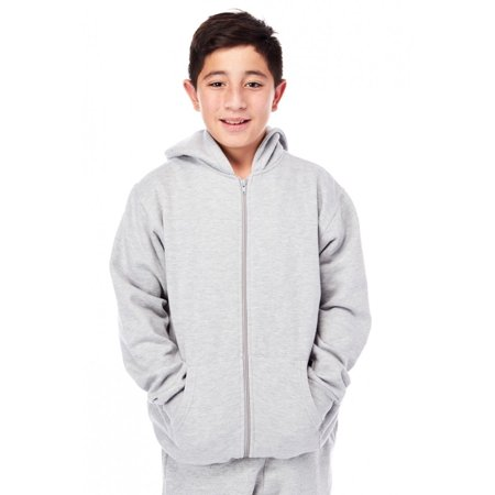 Boys Kids Solid Fleece Zip Up Hoodie Pocket Jacket (Kids North Face Denali Jacket)