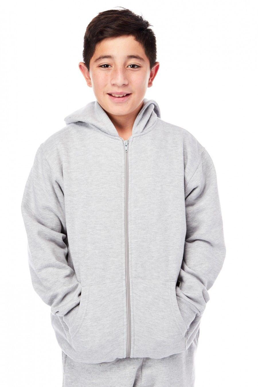 Boys Kids Solid Fleece Zip Up Hoodie Pocket Jacket 101