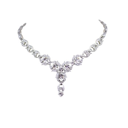 Faship Gorgeous Rhinestone Crystal Floral Necklace Earrings - Clear Rhinestone Necklace Set