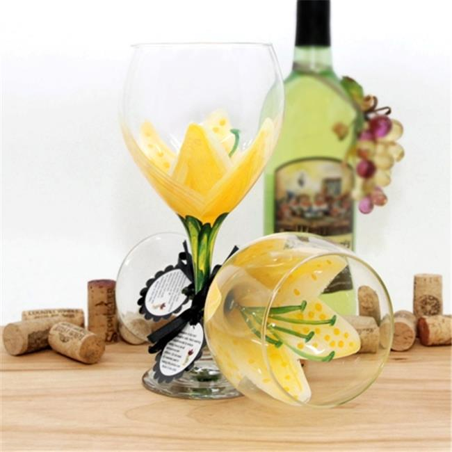 Judi Painted it STR-SBY Stargazer Painted Wine Glass, School Bus Yellow
