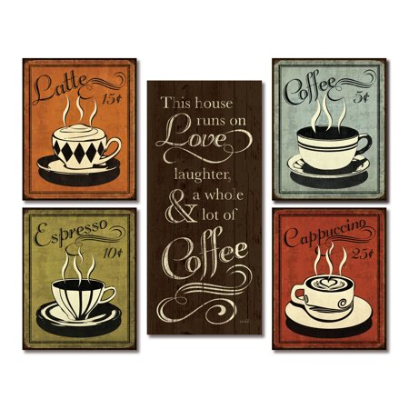 Gango Home Decor Classic Retro Coffee, Espresso, Cappuccino, Latte and This House Runs On Coffee Kitchen Wall Art by N. Harbick; Five Multi-Color 8x18in Unframed Paper Prints (Paper Only, No Frame)](Halloween Coffee Art)