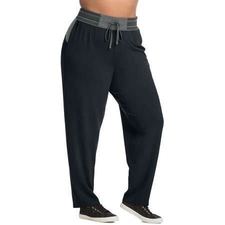 Just My Size Women's Plus Size Active French Terry Contrast Performance - French Terry Active Pants