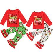 NEW Fashion Christmas Newborn Kids Baby Girls Xmas Cotton Long Sleeve Top Pants Soft Outfits Gift