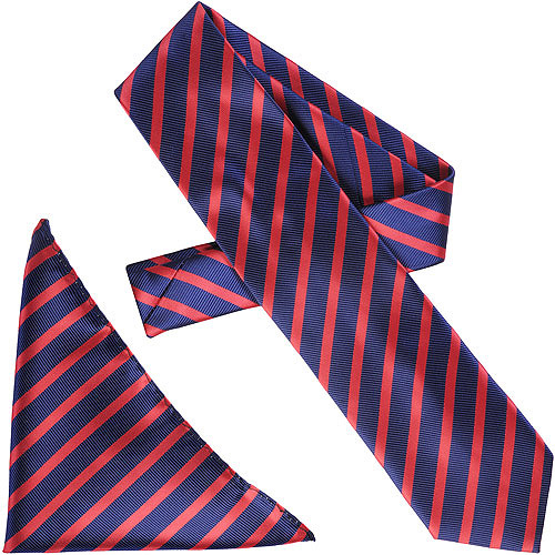 Daxx Men's Tonal Diagonal Stripe Tie and Hanky Set