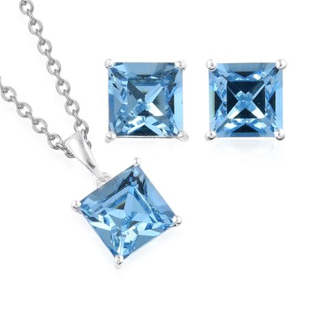 925 Silver Made with SWAROVSKI Crystal Earrings and Chain Pendant Necklace Jewelry Gift Set 20