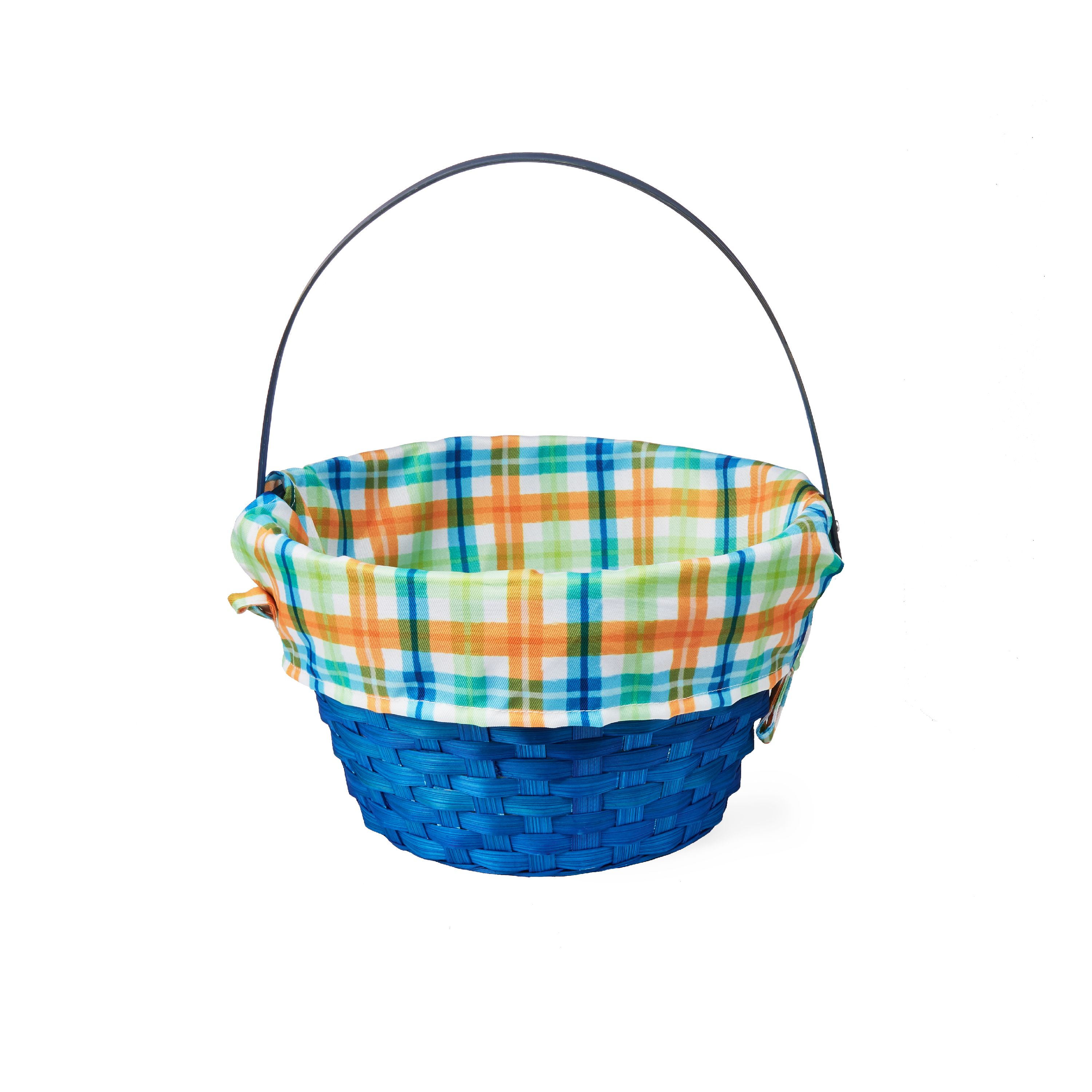 """Way to Celebrate Easter Basket with Liner, 10"""", Blue Plaid"""
