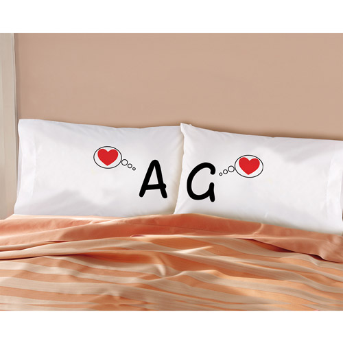 "Personalized ""Thinking of Love"" Pillowcase Set, Set of 2"